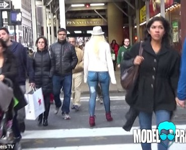 This Girl Walks Through New York City Wearing Nothing But Painted Jeans